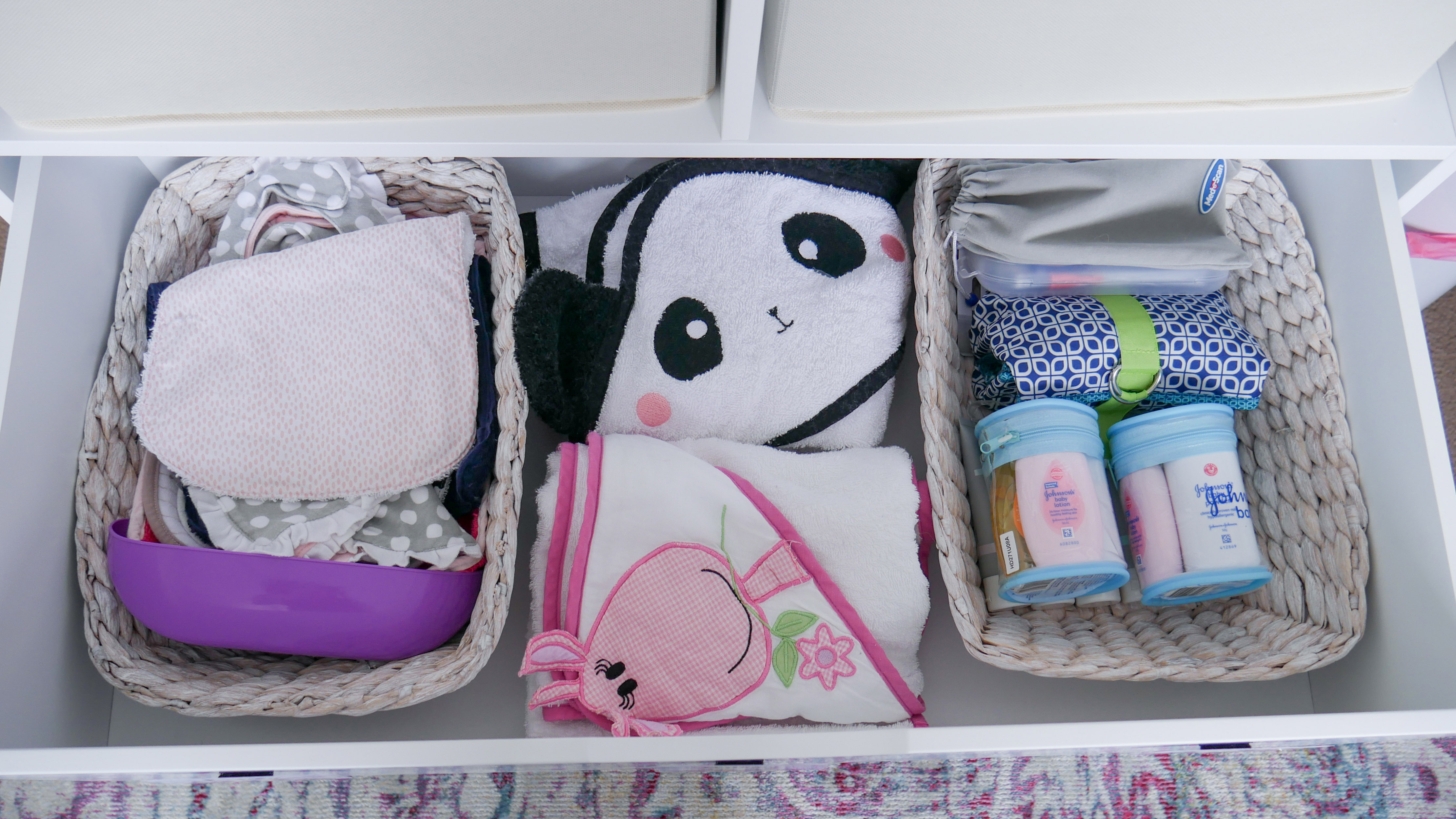 Floral Baby Nursery Reveal Change Table Top Drawer Organisation