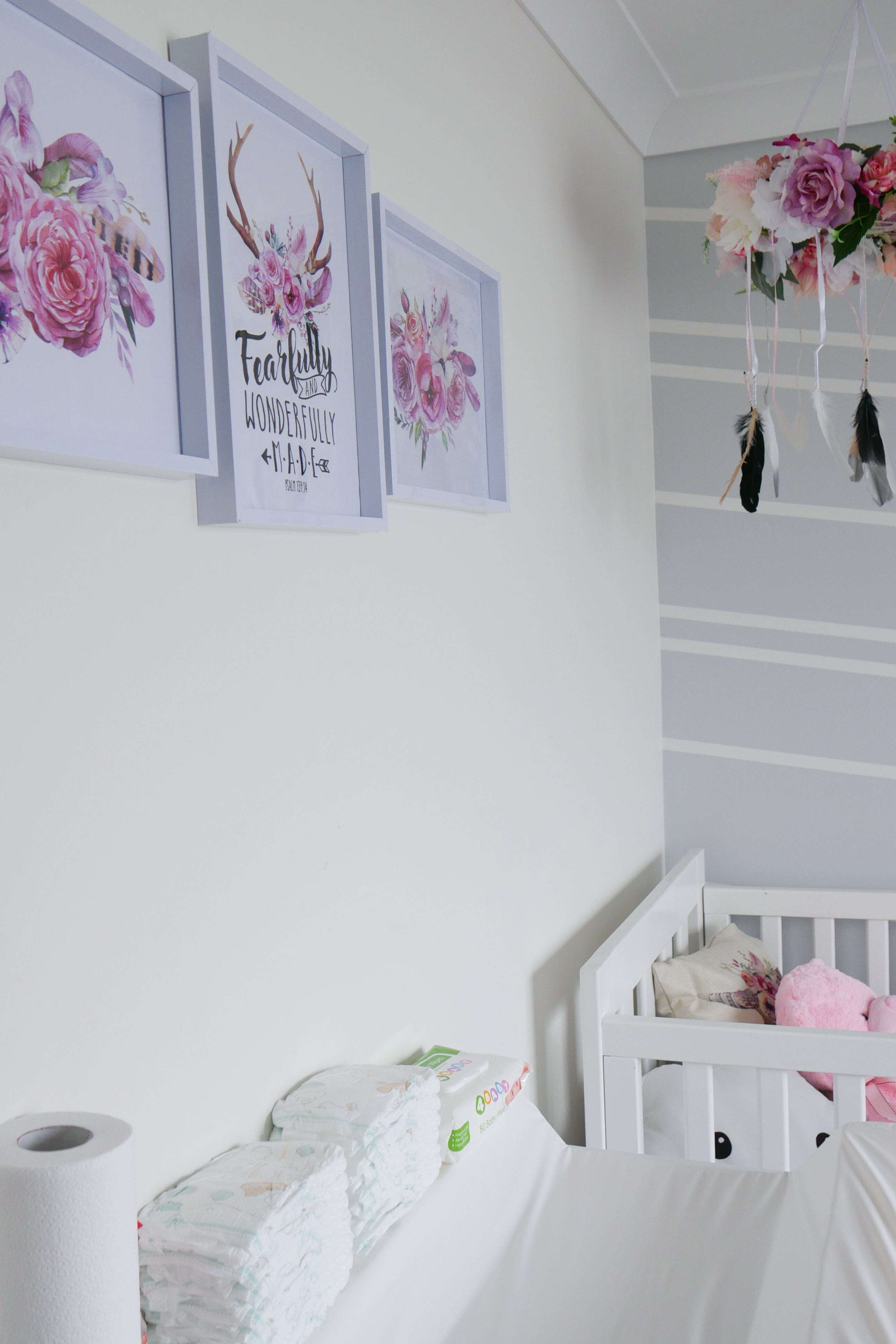 Floral Baby Nursery Reveal Change Table and Cot