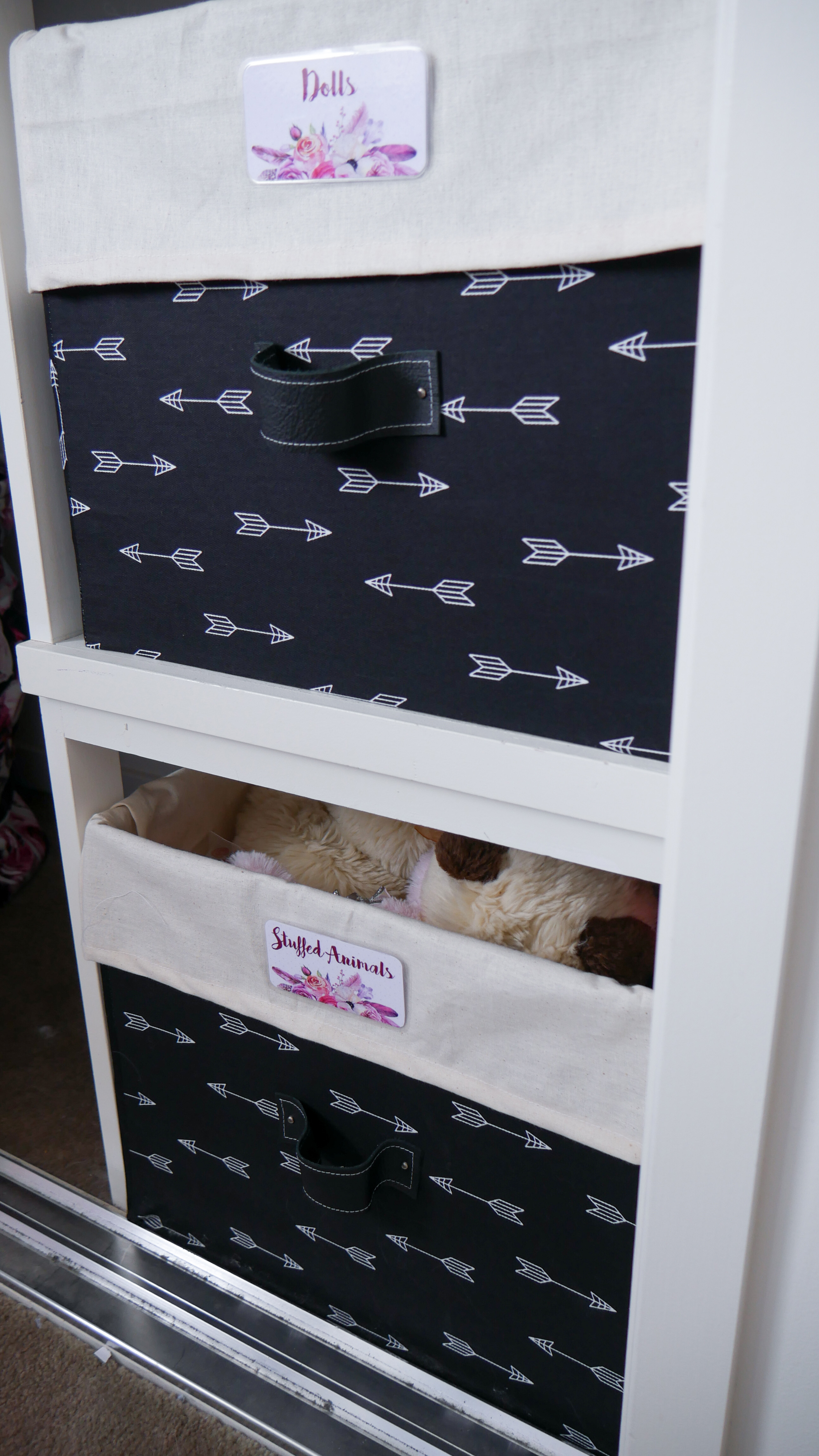 Floral Baby Nursery Reveal Closet Storage Boxes 5
