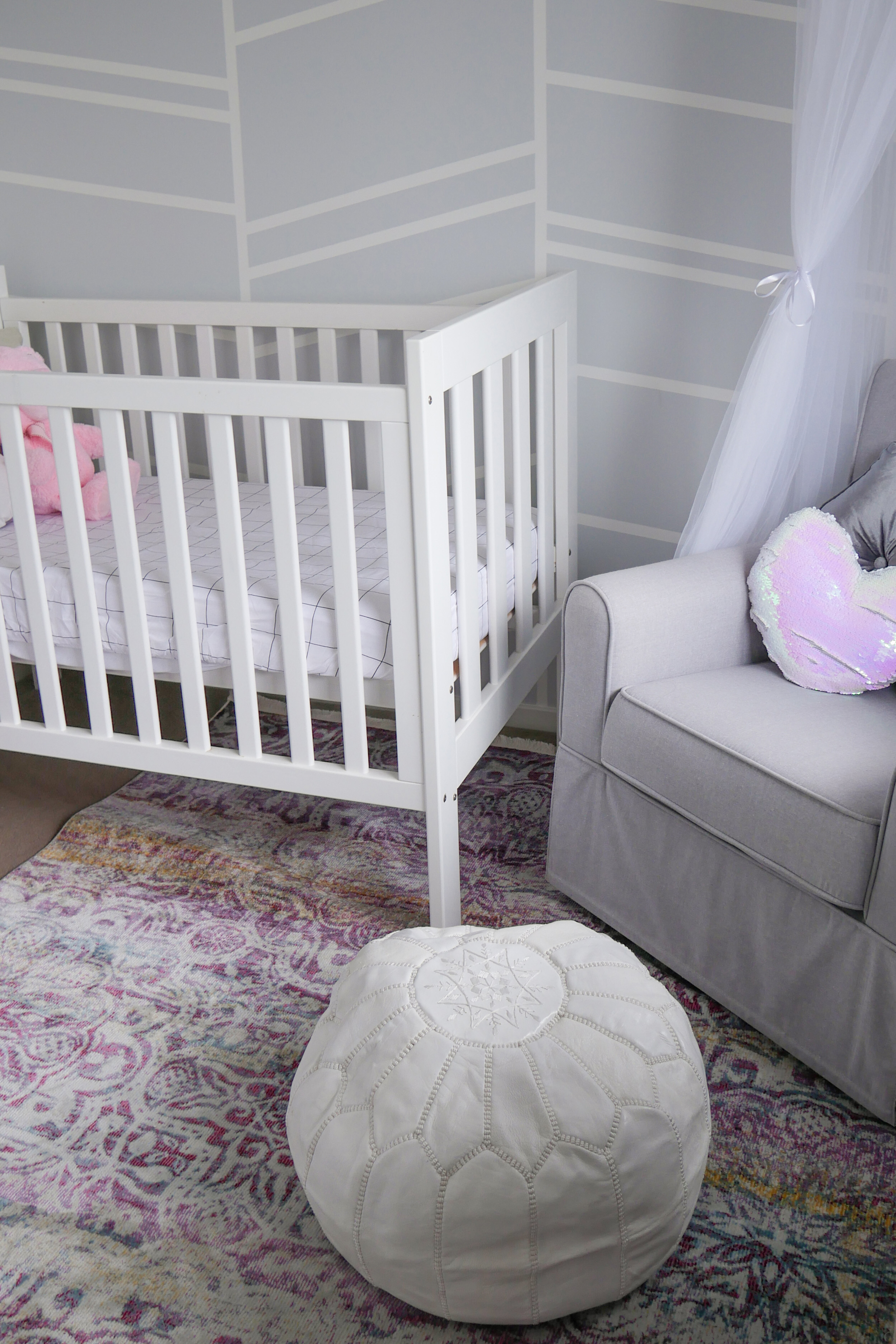 Floral Baby Nursery Reveal Cot, Nursing Chair and Pouffe