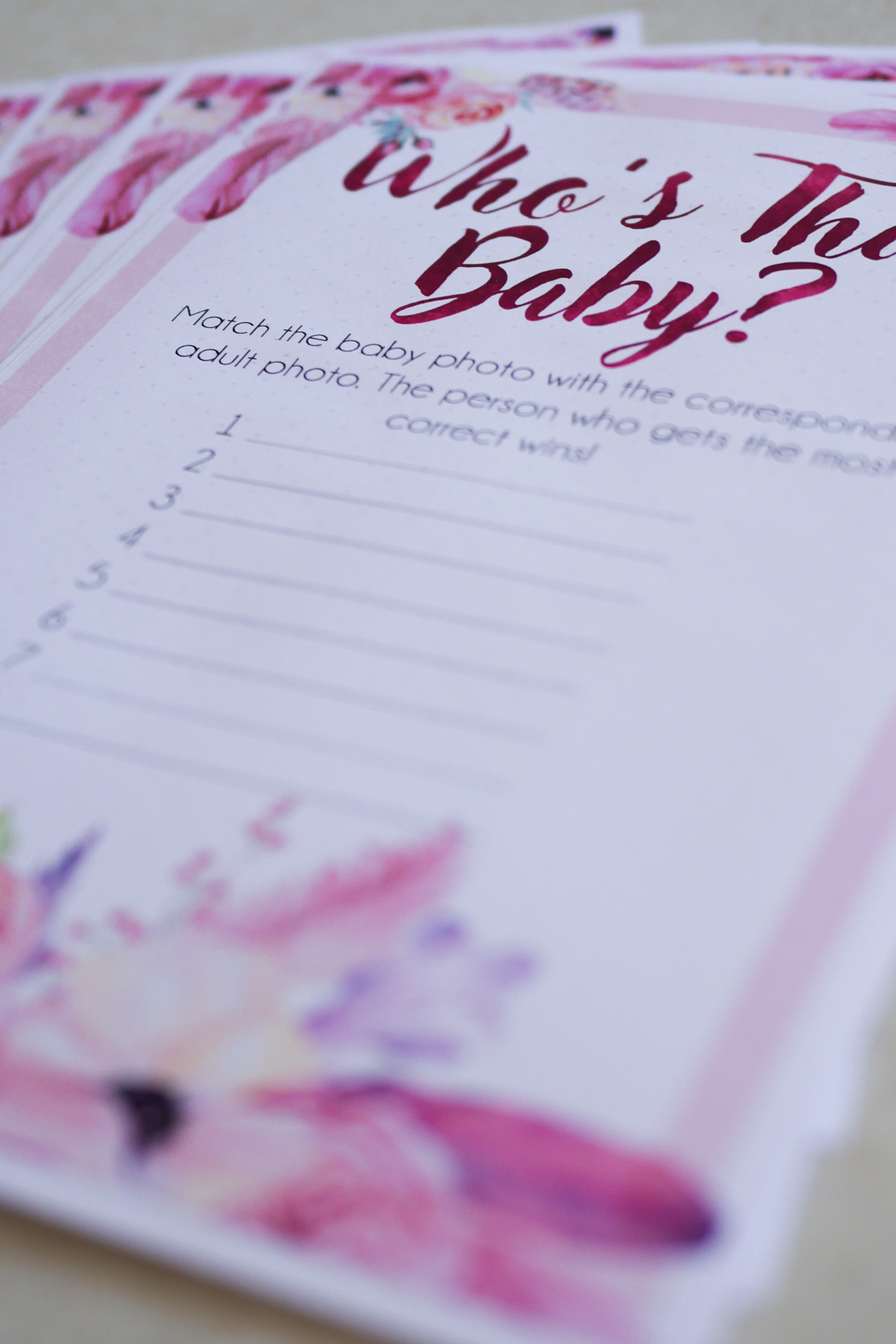 Who's That Baby Answer Sheet 1