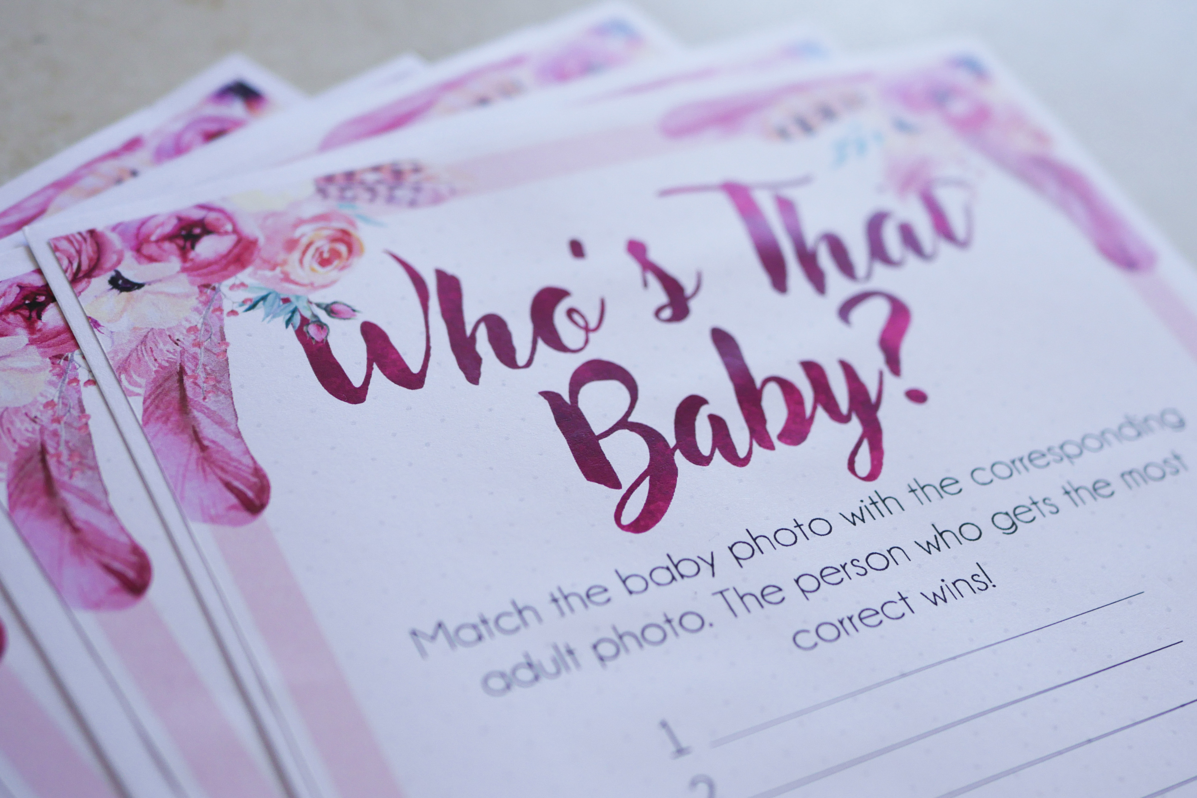 Who's That Baby Answer Sheet 2