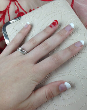 Red Lace French Tip Nails Feature Image