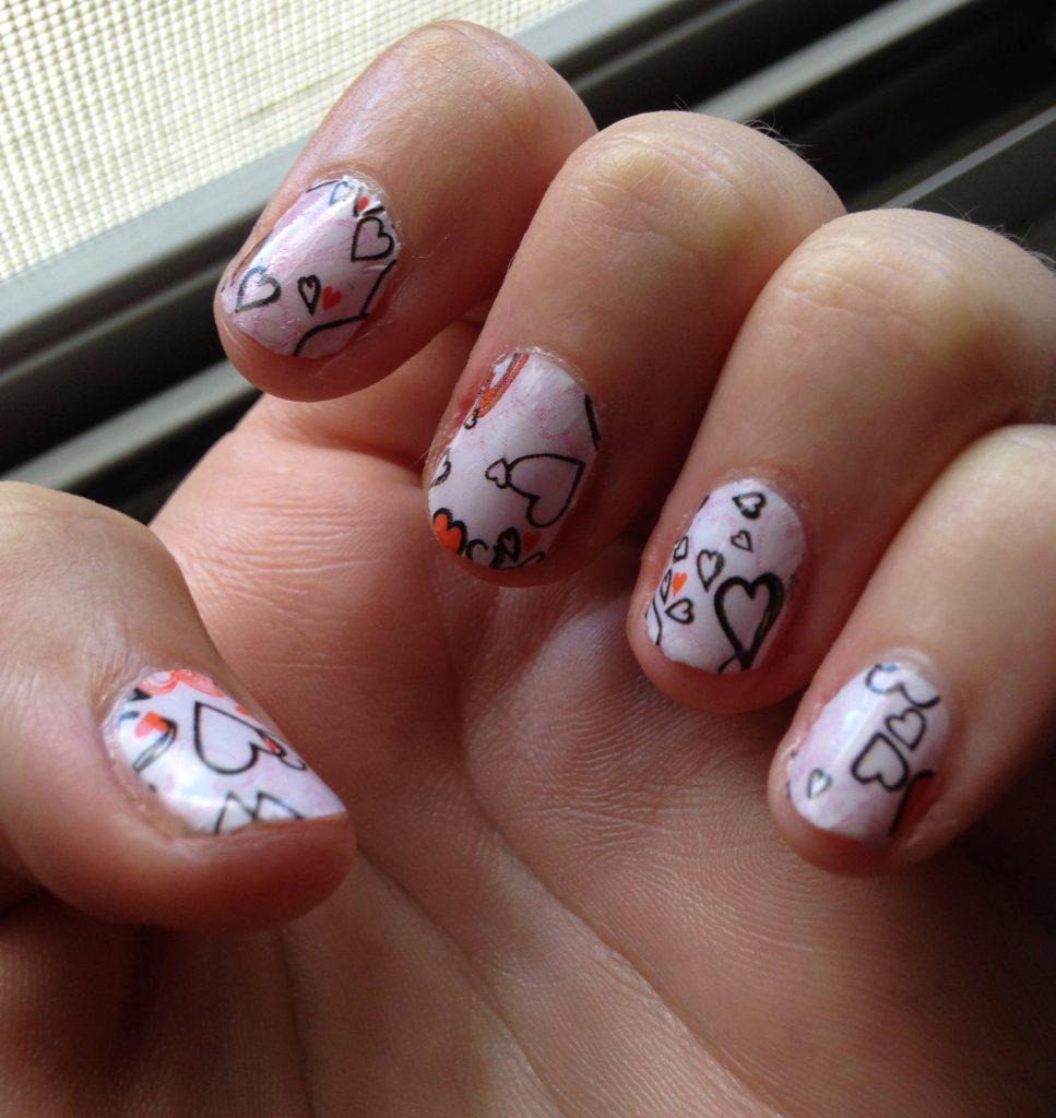 Valentine's Hearts Nails 1