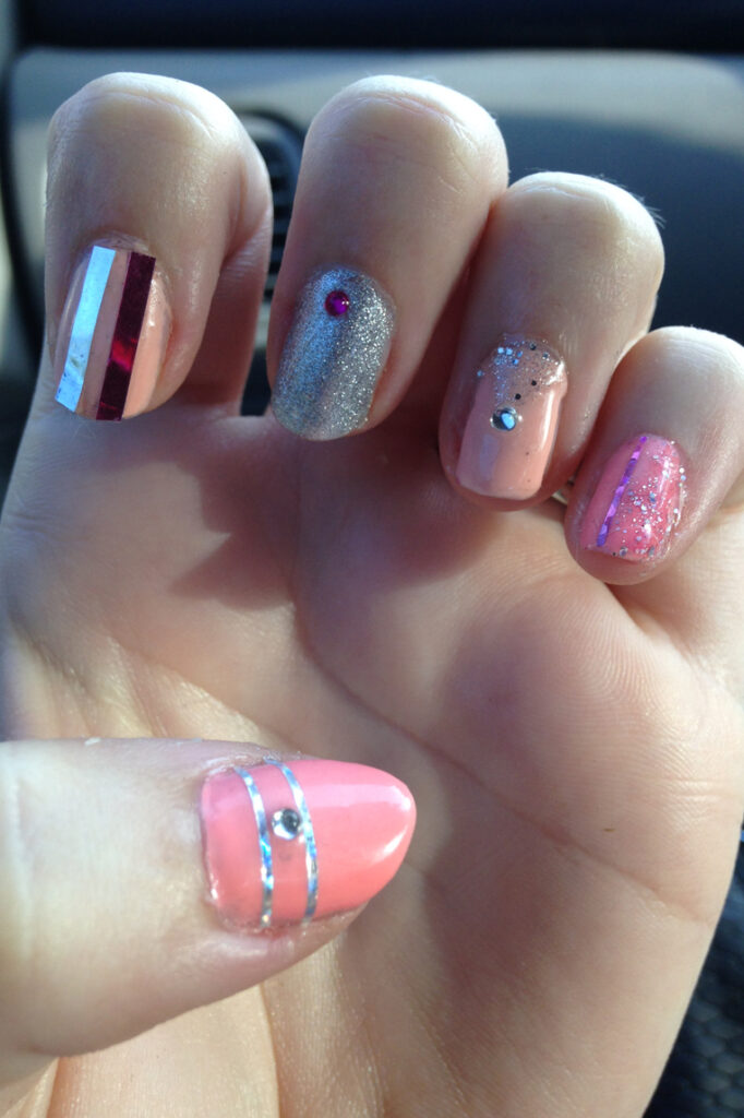 Blinged Out Girly Pink Nails