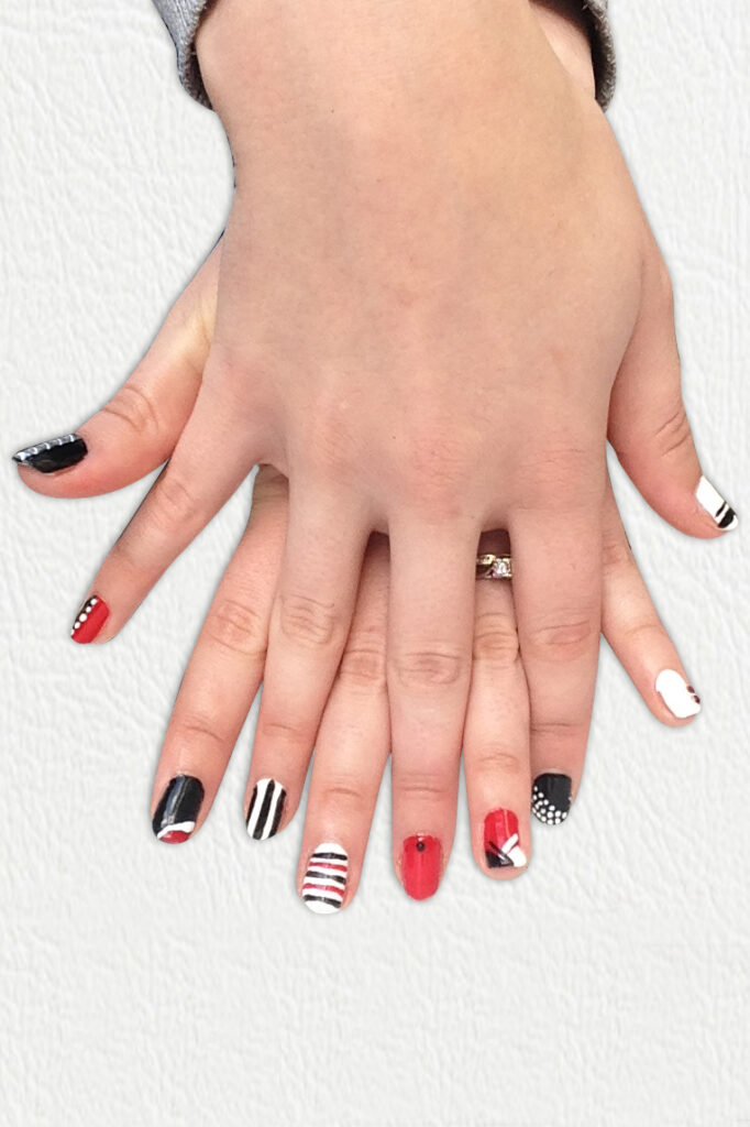 Black, Red and White Geometric Nails