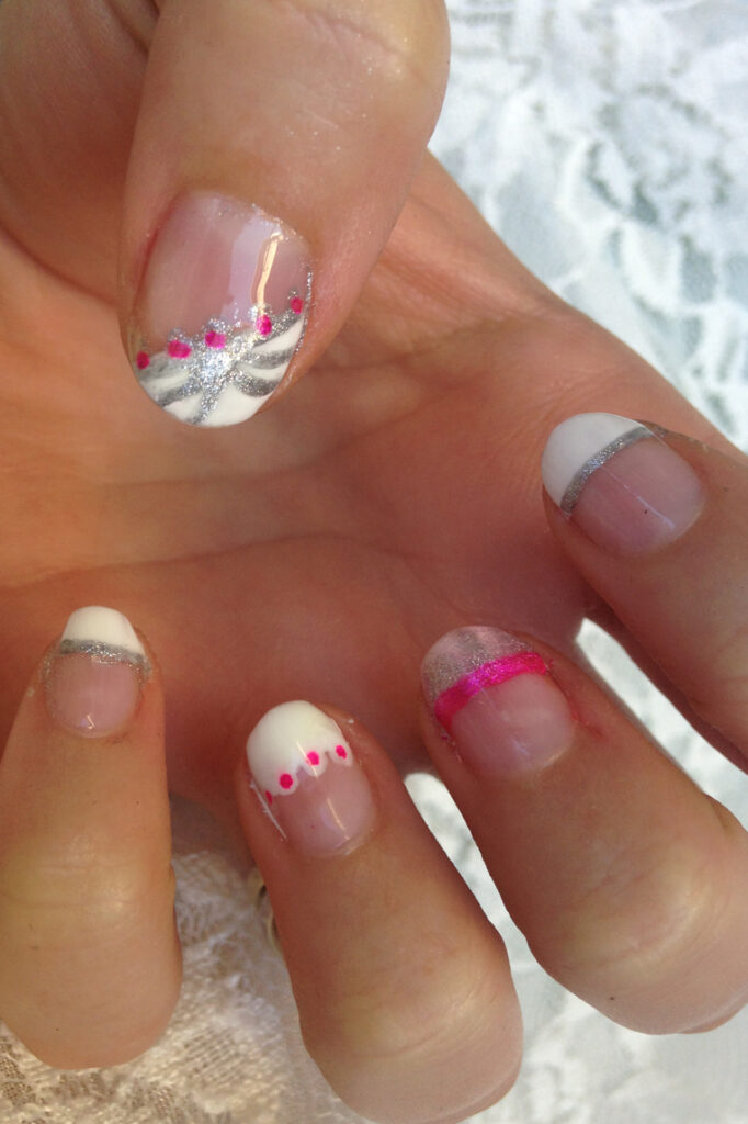 Pink and Silver French Tip Nails