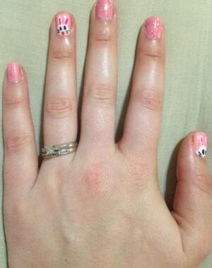Easter Bunny Pink Glitter Nails Feature Image
