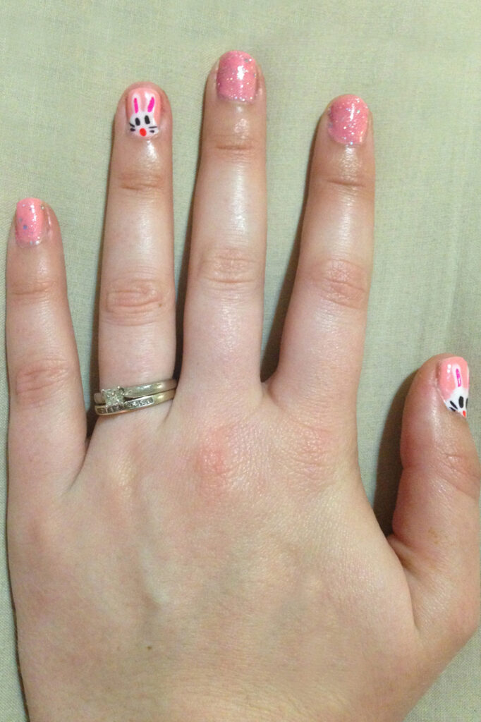 Easter Bunny Pink Glitter Nails