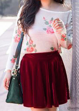 With a Skater Skirt and Loose Sweater Inspiration