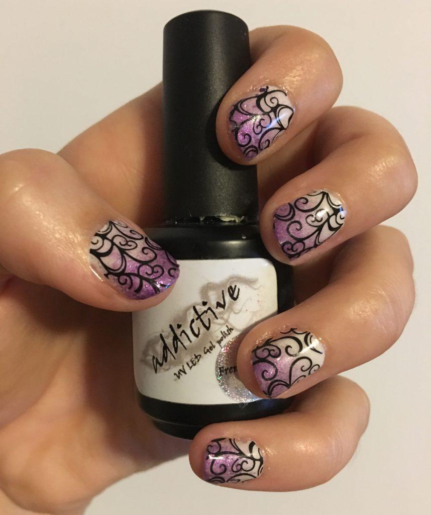 Purple Ombre Swirl Nails