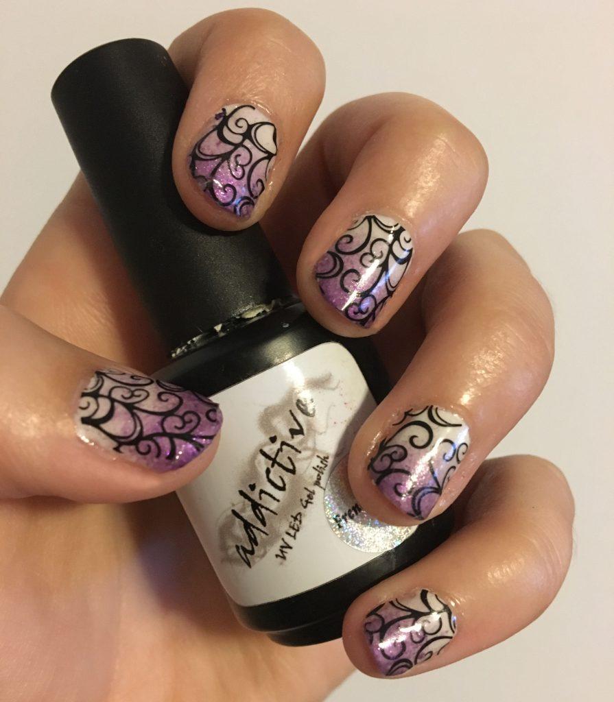 Purple Ombre Swirl Nails 4