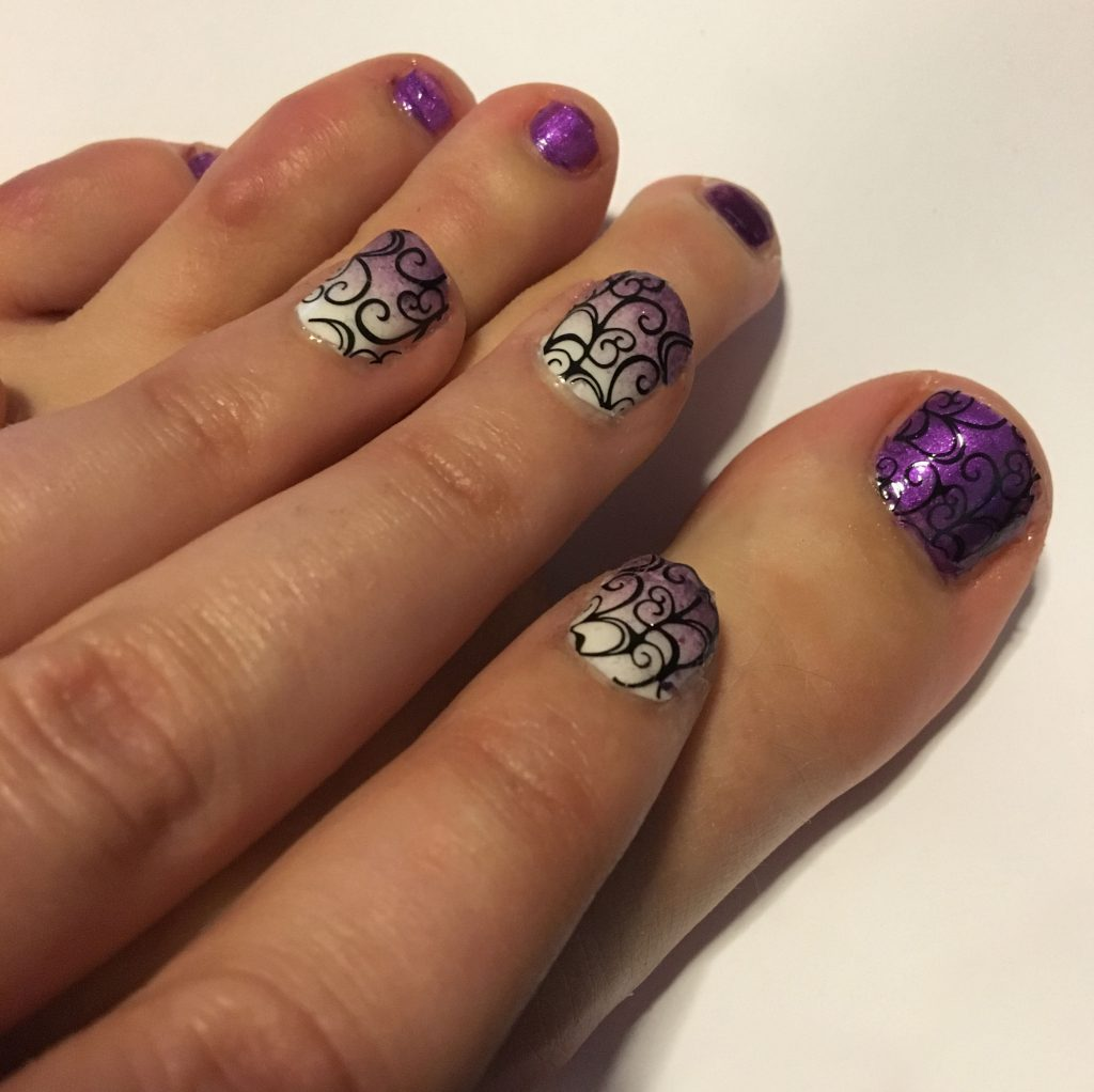 Purple ombre Swirl Nails and Toes