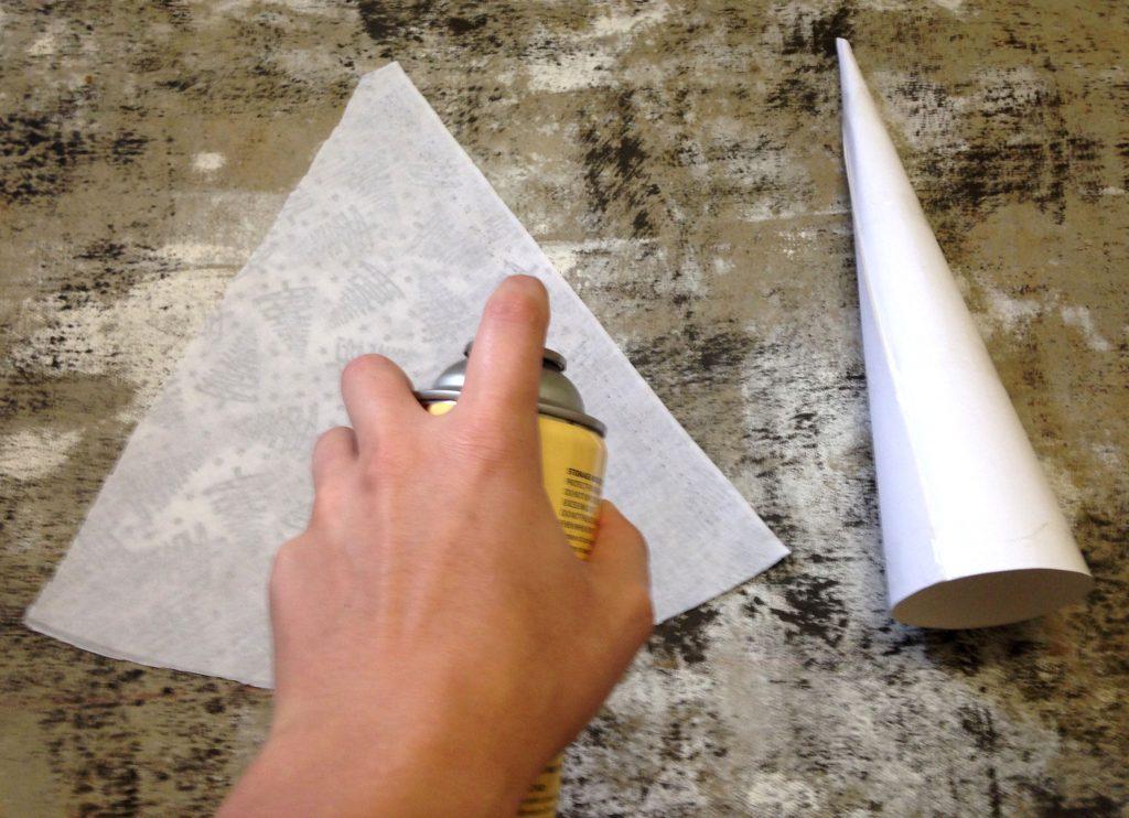 Step 5: Glue Fabric onto cone