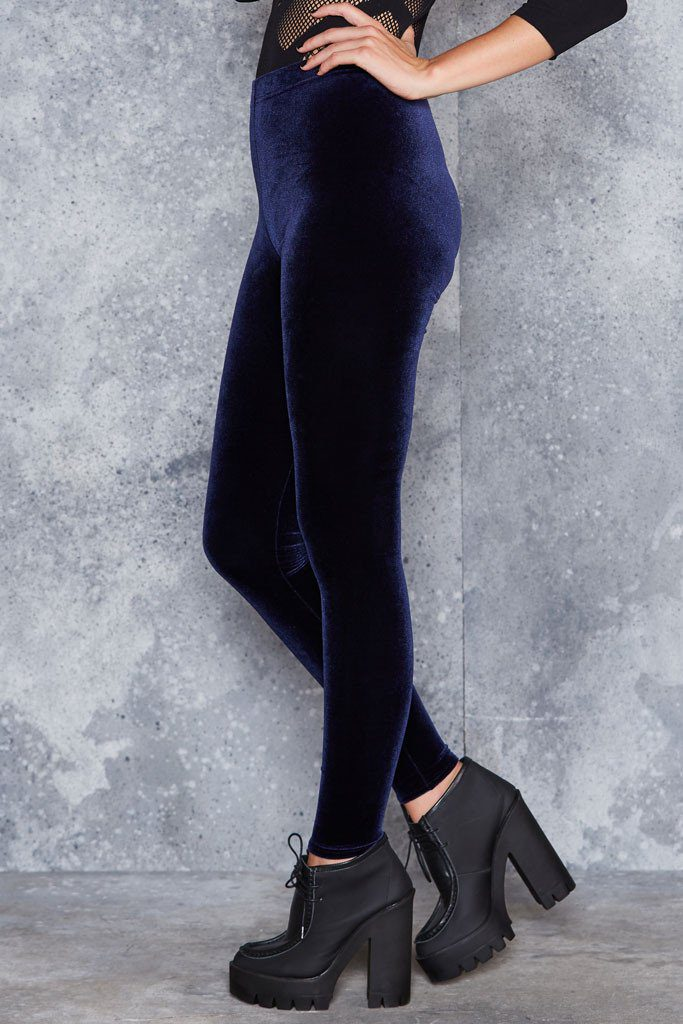 Velvet Deep Blue High Waisted Leggings