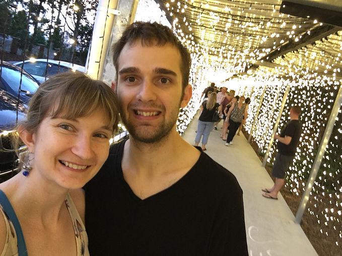 Christmas Tunnel Of Light Selfie