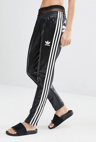 Adidas Three Stripe Wet Look Sweat Pants
