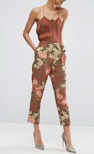 ASOS Floral Print Asymmetrical Tie Peg Trouser