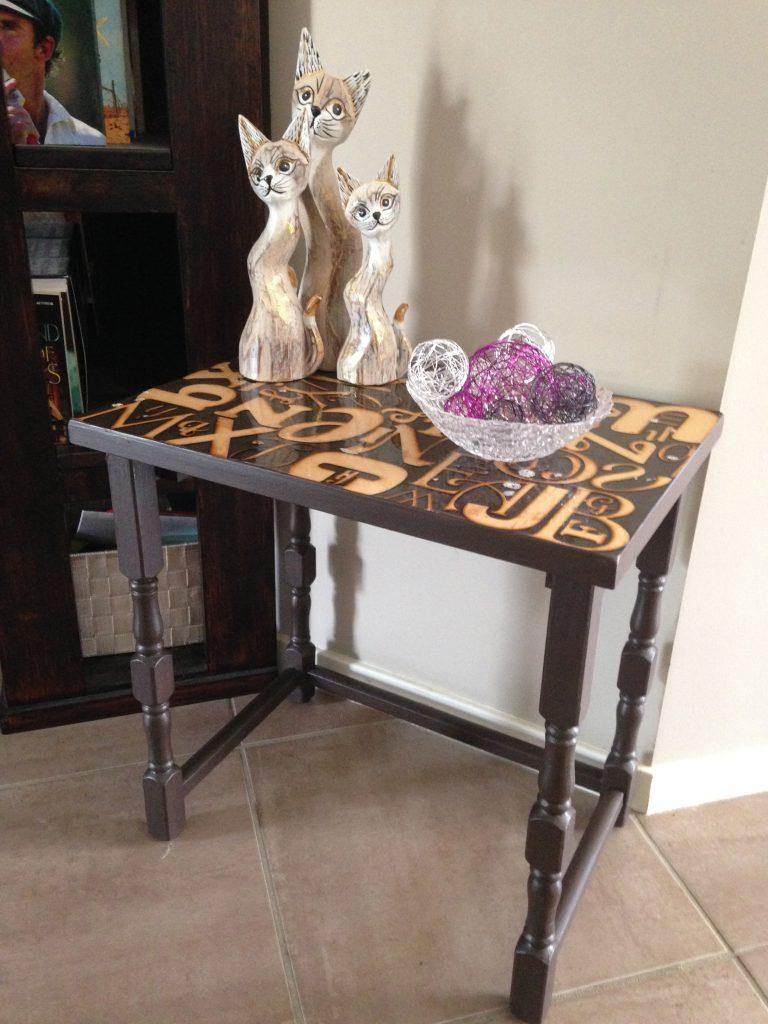 Alphabet Side Table Makeover DIY 2