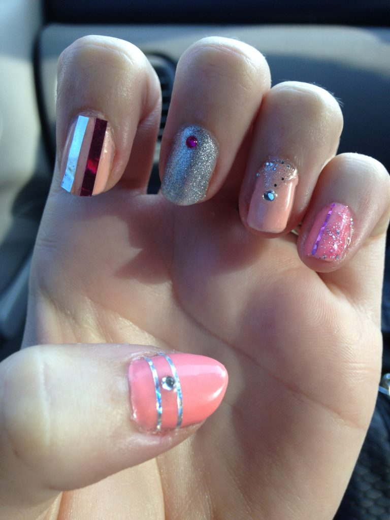 Blinged Out Girly Pink Nails 3