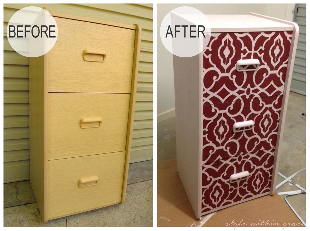 DIY Filing Cabinet Stencil Makeover Before and After