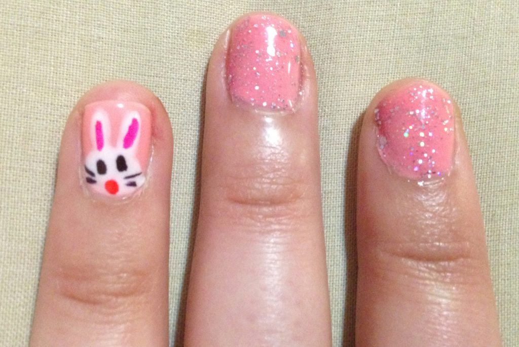 Easter Bunny Pink Glitter Nails 3