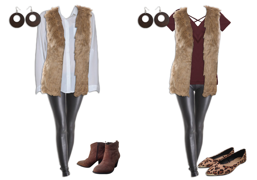 Leggings Outfit with a Long Fur Vest
