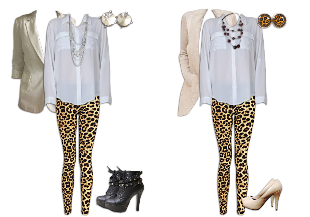 Leopard Print Leggings and Neutrals Outfits 2