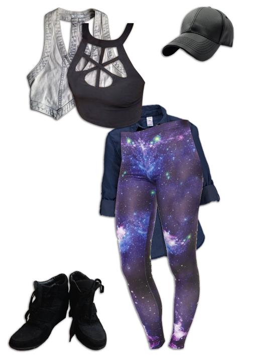 Nebula Leggings Shirt Around Waist Outfit