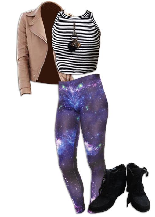 Nebula Leggings Pattern Mixing Outfit
