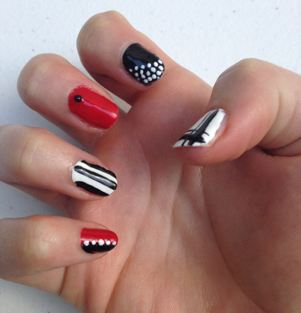 Red, Black and White Geometric Nails Right Hand