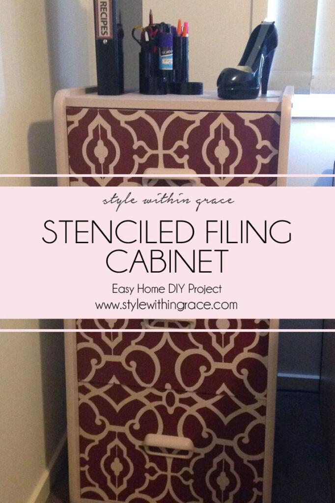 DIY Filing Cabinet Stencil Makeover Title 1