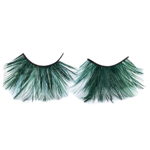 Green Feather Eyelashes