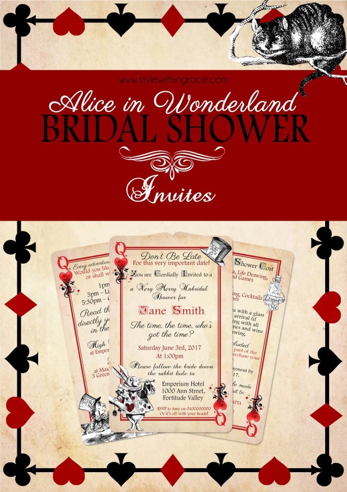 Alice In Wonderland Bridal Shower Invites Free Printable Templates