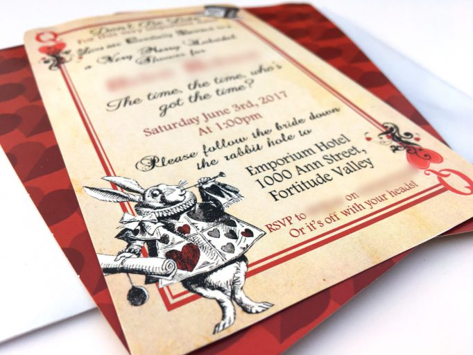 Alice In Wonderland Bridal Shower Playing Card Invites Card 1