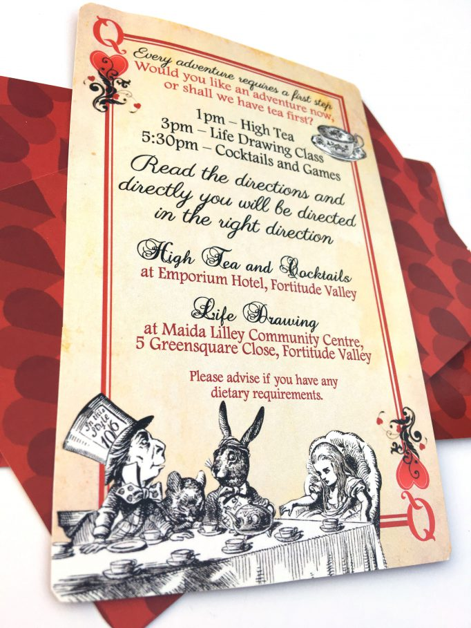 Alice In Wonderland Bridal Shower Playing Cards Invites Card 2