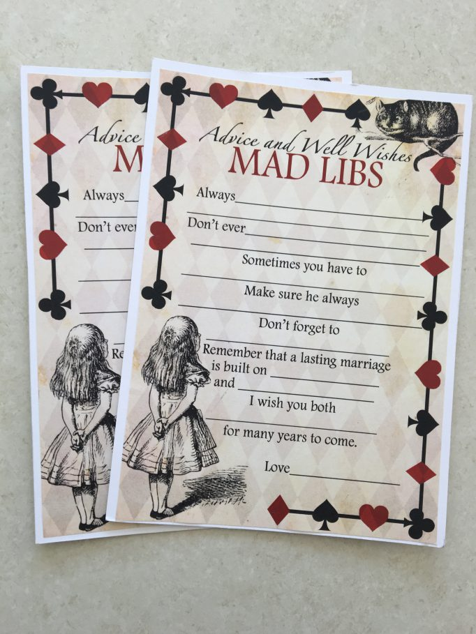Alice in Wonderland Advice Mad Libs Bridal Shower Games 1