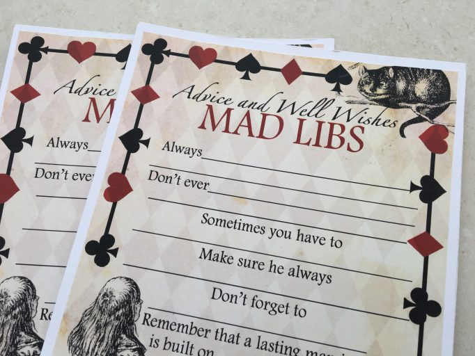Alice in Wonderland Advice Mad Libs Bridal Shower Games 2