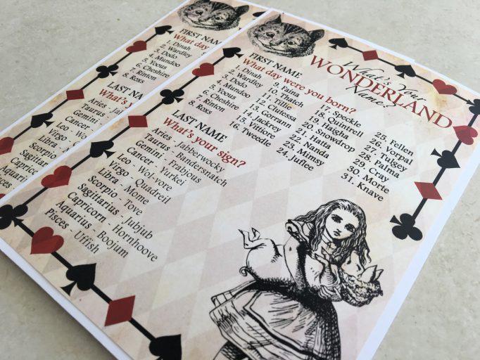 Alice in Wonderland Name Bridal Shower Games 1