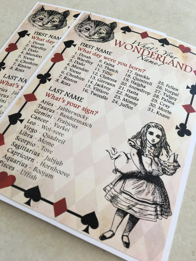 Alice in Wonderland Name Bridal Shower Games
