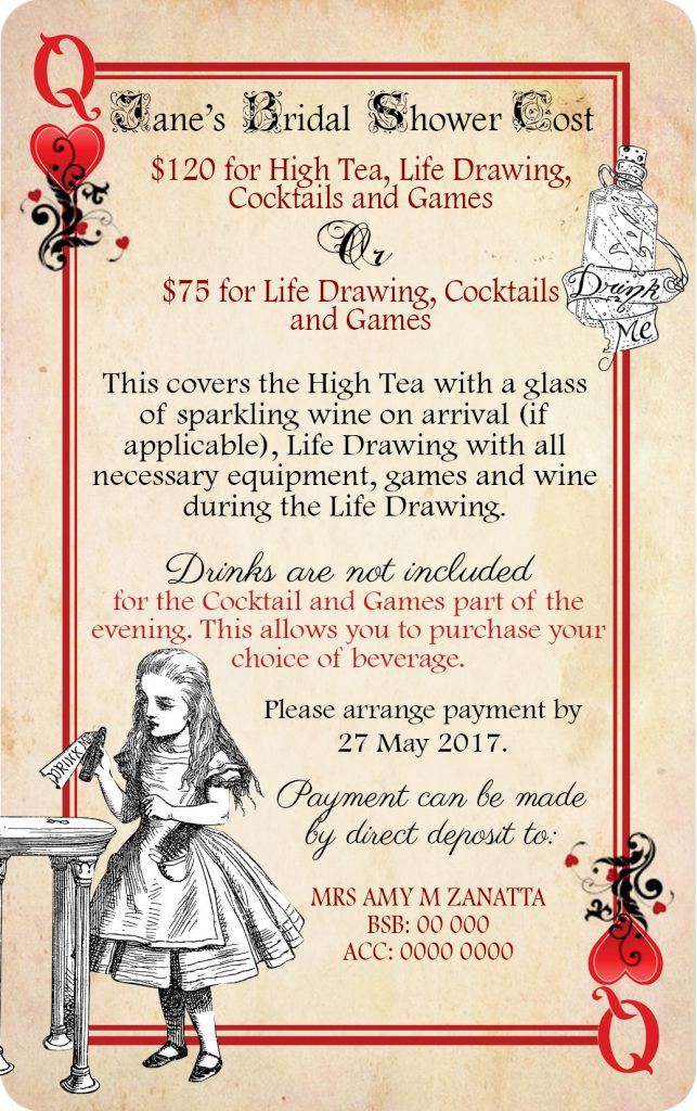 Alice In Wonderland Bridal Shower Invite Card 03