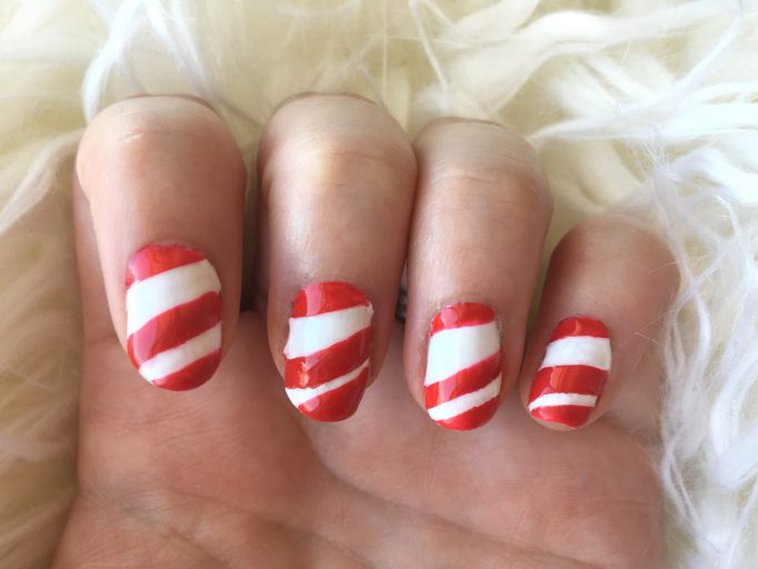 Candy Cane Christmas Nails 2