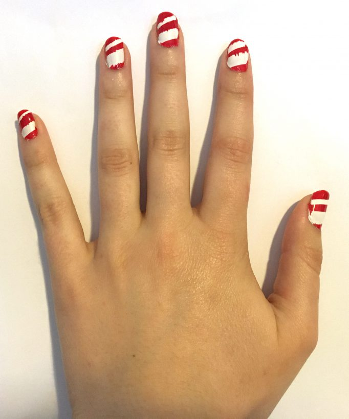 Red and White Striped Nails