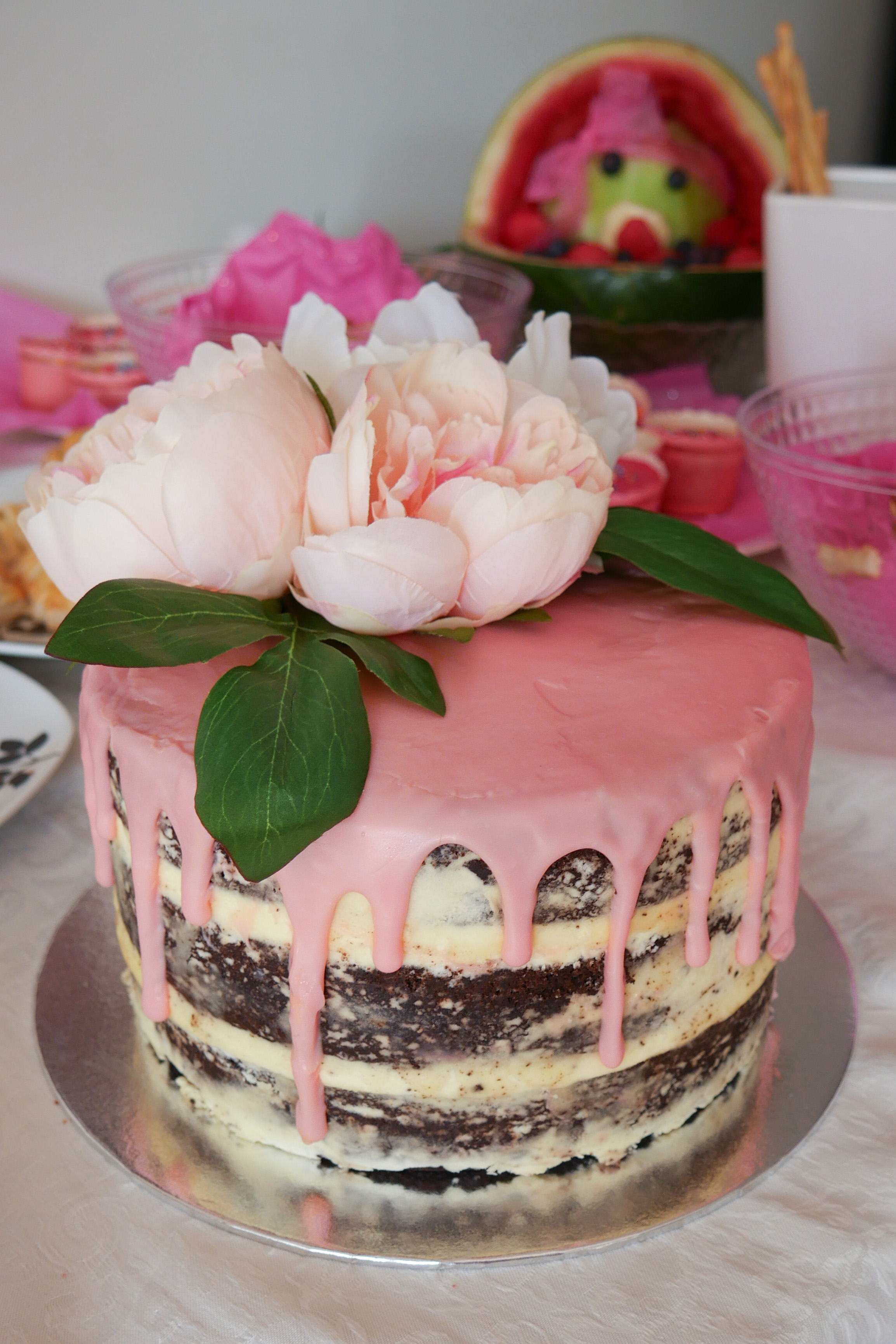 Naked Floral Drip Baby Shower Cake 2