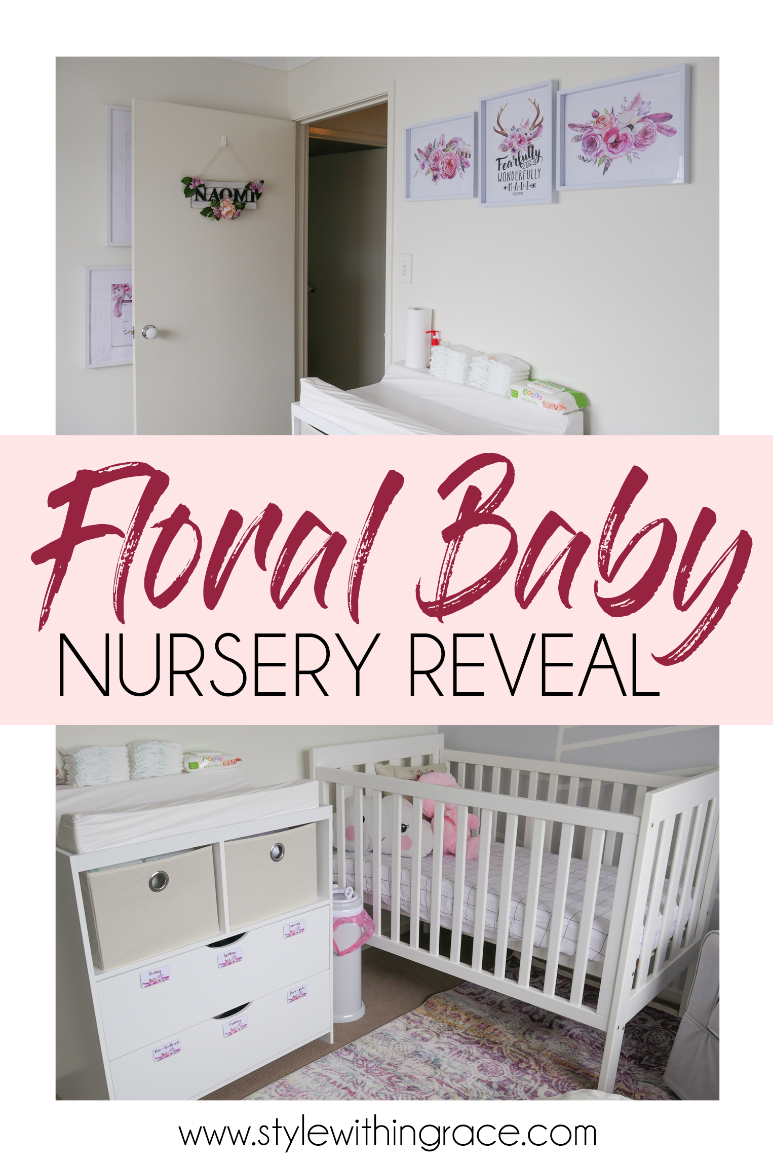 Floral Baby Nursery Reveal Pinterest Graphic