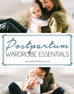 Postpartum Wardrobe Essentials Pinterest Graphic