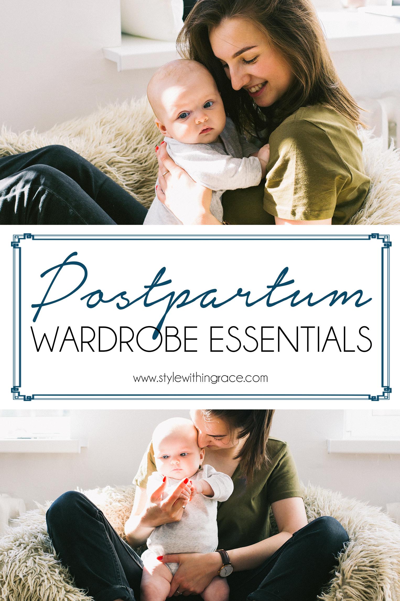 Postpartum Wardrobe Essentials Pinterest Graphic