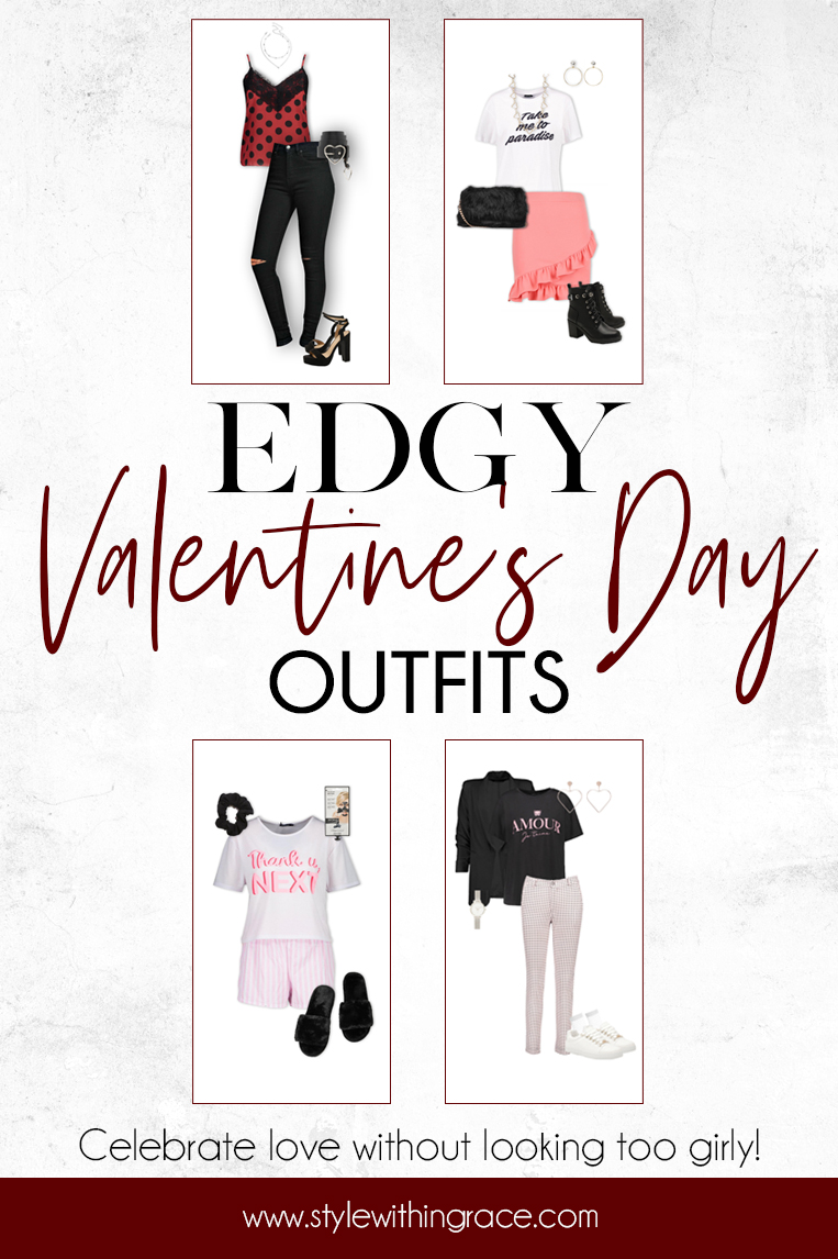 Edgy Valentine's Day Outfits Pinterest Graphic
