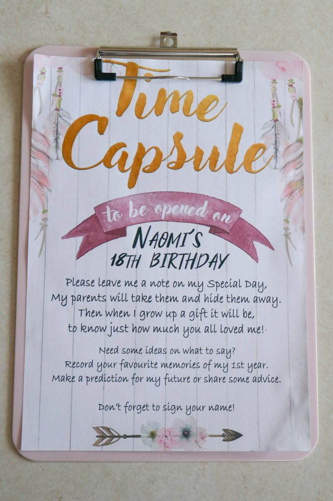Wild One Birthday Party Time Capsule Explanation Sheet