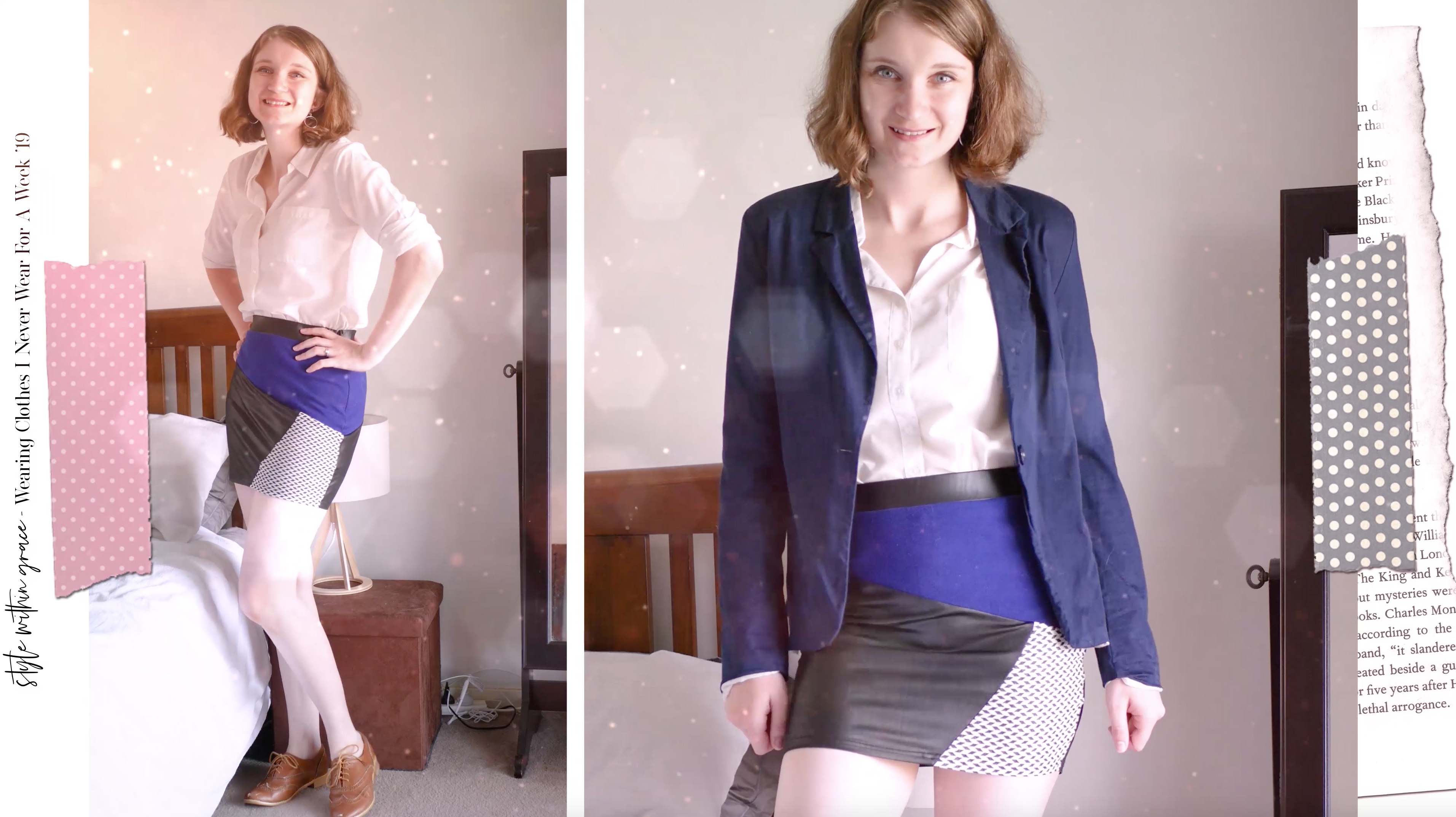 Blue Leather Mini Skirt Outfit